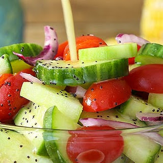 Cucumber Tomato Salad with Lemon Poppy Seed Dressing