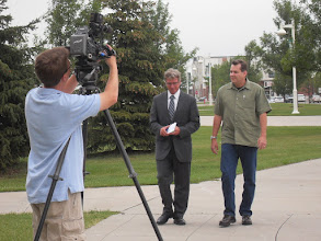 Photo: Robert being interviewed by WDAY's Kevin Wallevand. Watch: http://www.youtube.com/watch?v=fipaGHzY-SU&list=UUGLXUCgwvkTELnka2l3IQmQ&index=1