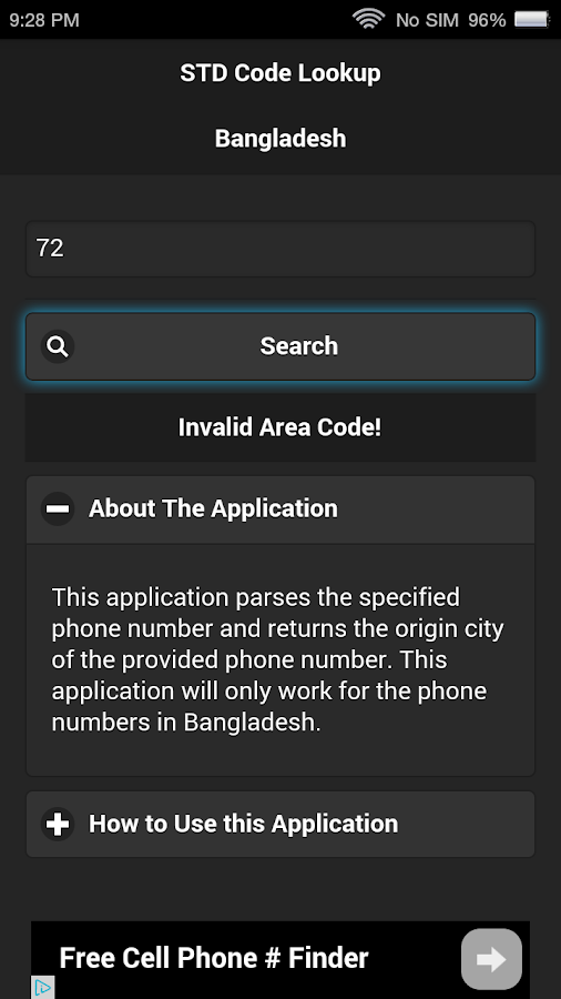 STD Code Lookup for Bangladesh- screenshot
