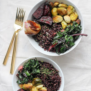 Vegan Beet Greens, Roasted Vegetables & Black Japonica Rice