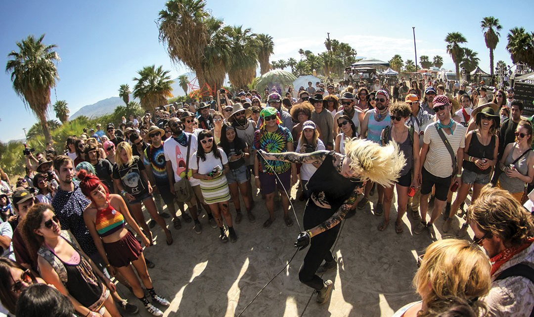 Performer in the crowd at Desert Daze