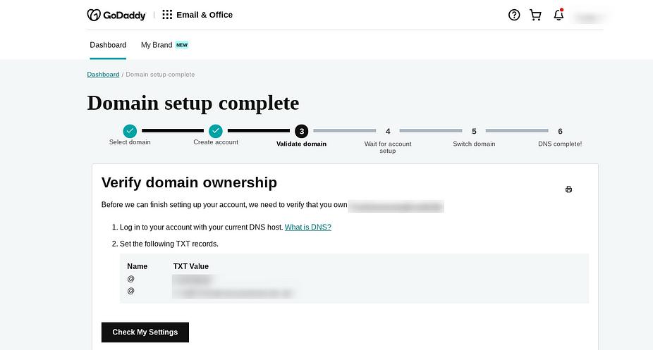 Xác minh miền của bạn để tạo địa chỉ email doanh nghiệp