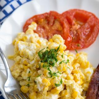 Scrambled Eggs with Fresh Corn, Goat Cheese & Tomatoes