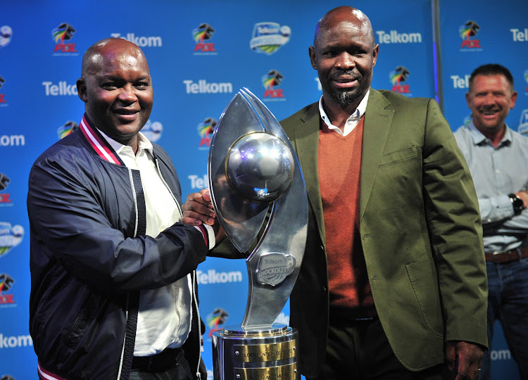 Pitso Mosimane, coach of Mamelodi Sundowns and Steve Komphela, coach of Bloemfontein Celticduring the 2018 Telkom Knockout draw at Supersport Studio, Johannesburg on 08 October 2018.