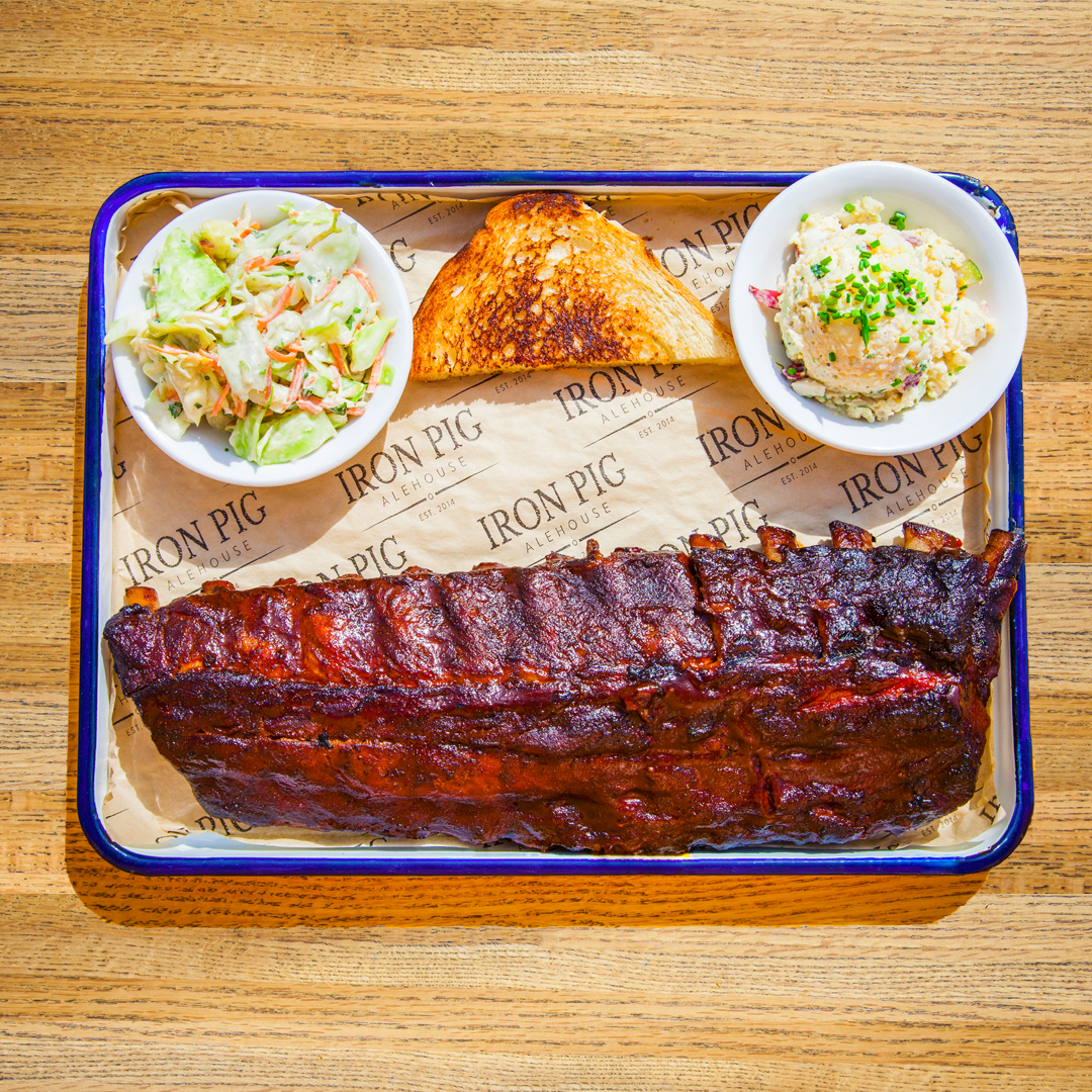 Full-Rack Baby Back Ribs (gluten-free excluding the bread). Comes with choice of 2 sides.