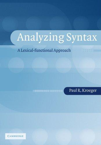 9780521016544: Analyzing Syntax: A Lexical-Functional Approach (Cambridge Textbooks in Linguistics)