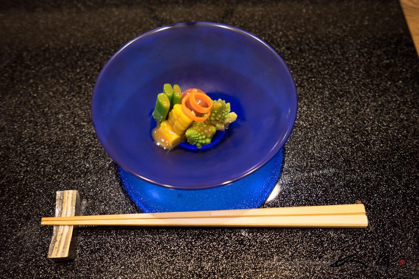 お口直しの小鉢:野菜の味噌ドレッシング和え