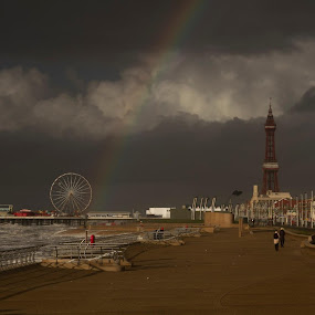 Blackpool rainbow by Doris B - City,  Street & Park  Historic Districts ( clouds, tower, wheel, cloudy, beach, blackpool, rainbow )