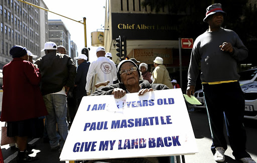 Lydia Nhlapho from Alexandra township joined other elderly people who were protesting outside ANC headquarters Luthuli House in Joburg yesterday demanding title deeds for their properties. / Masi Losi