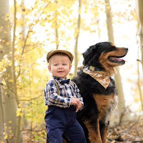 A boy and his best friend by Antonio Lobato - Babies & Children Toddlers ( mountain, fall colors, children, child portrait, children candids, child, best friends, nature, mans best friend, fall, outdoors, childhood, outside,  )