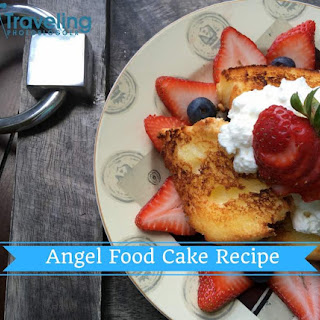 Broiled Angel Food Cake Recipe with Maple Whipped Cream.