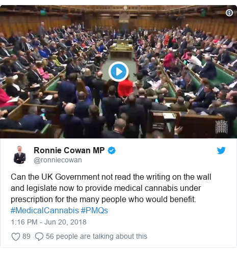Twitter post by @ronniecowan: Can the UK Government not read the writing on the wall and legislate now to provide medical cannabis under prescription for the many people who would benefit. #MedicalCannabis #PMQs