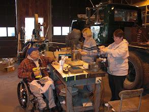 Photo: Steve,  Modwyn and Dottie working hard...