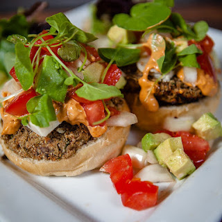 Vegan Lentil Mushroom Burgers.