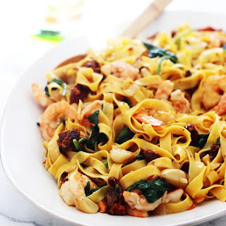Shrimp Tagliatelle with Roasted Garlic, Sun-Dried Tomatoes and Sweet Vermouth Cream Sauce Recipe
