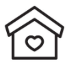 line drawing of a home with heart on it