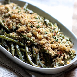 Roasted Green Beans with Lemon Vinaigrette and Herbed Breadcrumbs.