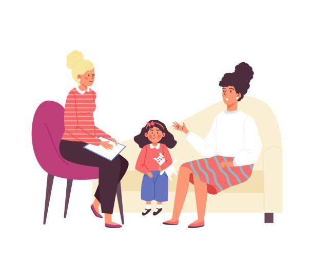 Mother and little girl paying a visit to the child psychologist