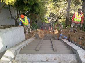 Photo: San Francisco Department of Public Works (DPW) employees reviewing third and final pouring of concrete on Hidden Garden Steps (16th Avenue, between Kirkham & Lawton streets, in San Francisco's Inner Sunset District); latest work--replacing damaged flight of steps--was done on March 8, 2013. For more information about the Hidden Garden Steps project, please visit http://hiddengardensteps.org and/or follow us on Twitter (@gardensteps), Facebook (Hidden Garden Steps), and Google+.