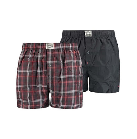 Levi's men premium positive plaid woven boxer red black 2-pack