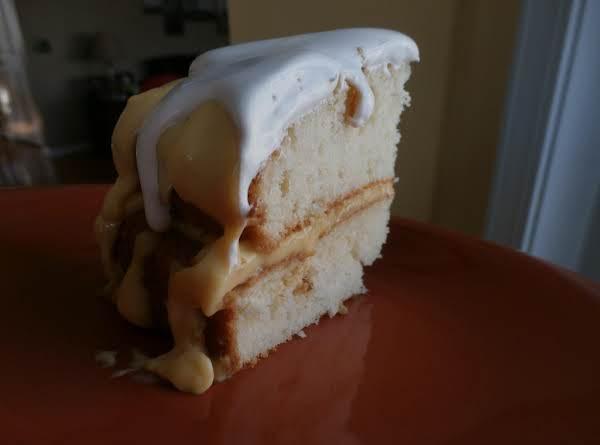 Vanilla Custard Filled Cake W/ Coffee Whip Topping
