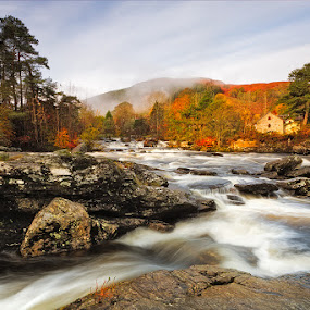 Water + Colour by Neil O'Connell - Landscapes Waterscapes ( water, scotland, autumn, falls of dochart, rocks, river )