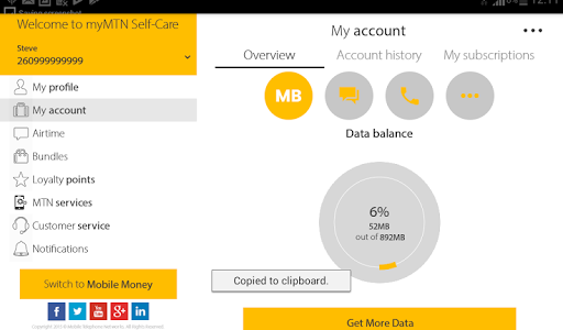 MyMTN - screenshot
