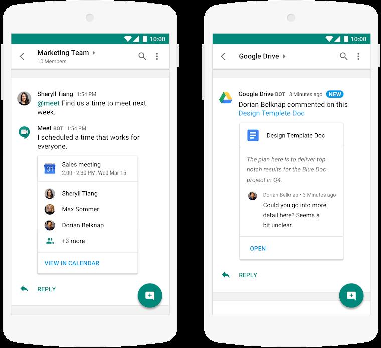 Komentar di Google Drive bisa langsung dilihat di Hangouts Chat
