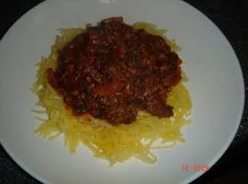Spaghetti Squash with Spinach Tomato Sauce