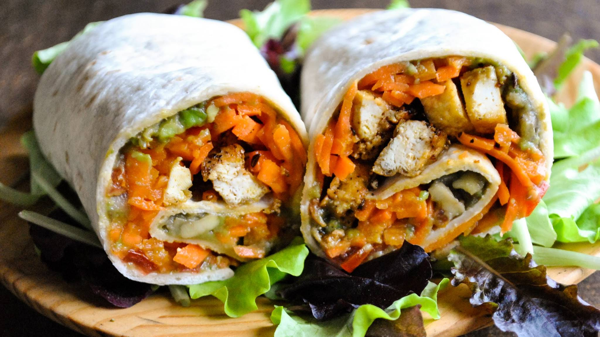 Vegan Wraps With Carrot Noodles Pepper Tofu And Guacamole