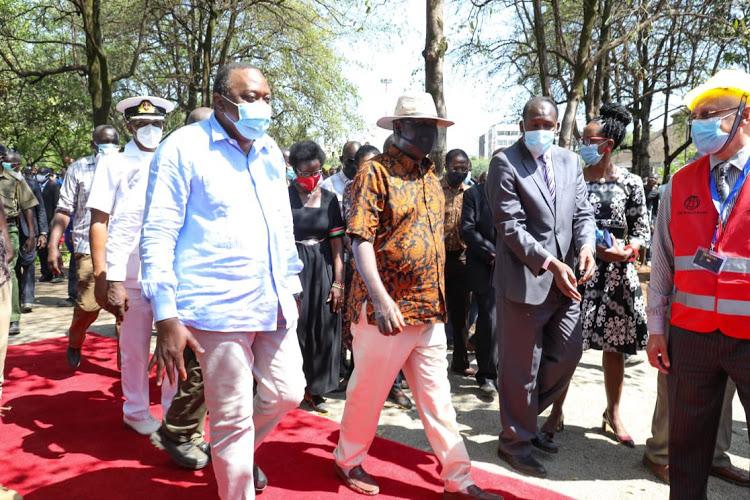 President Uhuru Kenyatta when he was hosted by ODM leader Raila Odinga during a tour of Kisumu county on October 22, 2020.