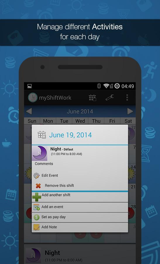 Shift Work Scheduling Calendar Screenshot 1