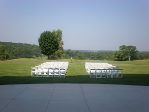 Photo: view from back porch - we wondered if there were going to be a wedding there today?