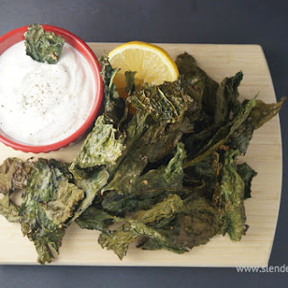 Kale Chips with Lemon Yogurt Dip.