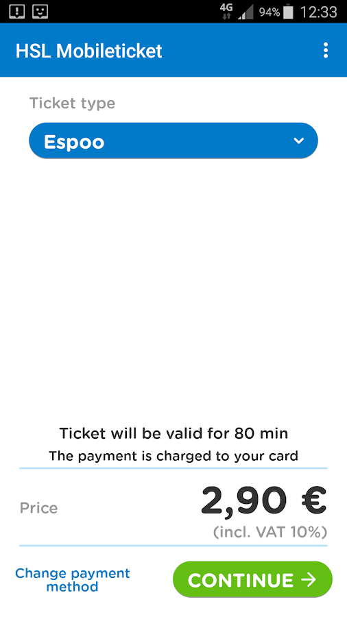HSL Mobile ticket- screenshot