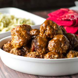 Braised Meatballs with Buttered Noodles