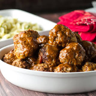 Braised Meatballs with Buttered Noodles.
