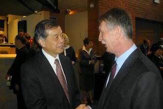 Photo: JE Makoto Yamanaka w rozmowie z Januszem Lukaszczykiem, prezesem Klubu Kultury Japońskiej w Czerwionce-Leszczynach