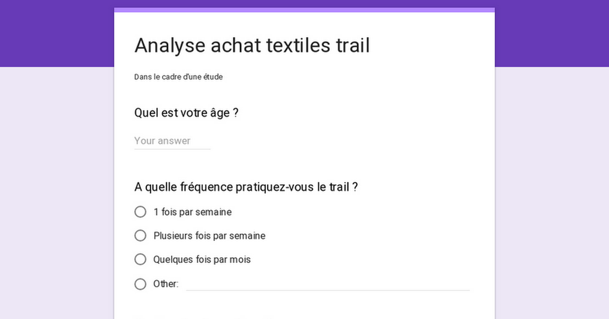 Analyse achat textiles trail