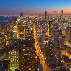 Birds Eye Blue Hour by Jamie Link - City,  Street & Park  Skylines ( chicago skyline, link, jamie, cityscape, rush hospital chicago, photography, city, blueline, chicago commercial photographers, chicago pictures, i290, buildings, train, willis, willis tower, jamie link photography, long exposure http, chicago blue hour, tracks, chicago skyline photos, eisenhower expressway, tower, expressway, cities, tiltshift, commercial outdoor photographer )