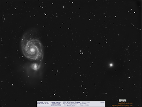 Photo: M51 the Whirlpool galaxy in mono with no filter.  I took a break from taking Jupiter pictures because of the bad seeing.  Setup and went indoors to escape the unseasonably cold weather to play video games.