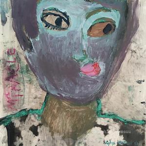 homme-man-rose-regard-flower-bleu-blue-miracle-portrait-face-visage-sophielormeau-lormeau-artiste-peinture-french-artist-art-tableau-paper-magazine-colorful-naif-naiv-contemporain-contemporary