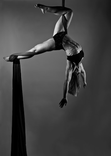 Balance Of Power 2012 Series Hooked by Monte Arnold - People Fine Art ( suspend, abdominal, silk, form, strength, white, muscle, black and white collection, suspense, aerial, monte, lindquist, arnold, balance, abs, inspiration, wendy, power, fly in the eye, dance, black,  )