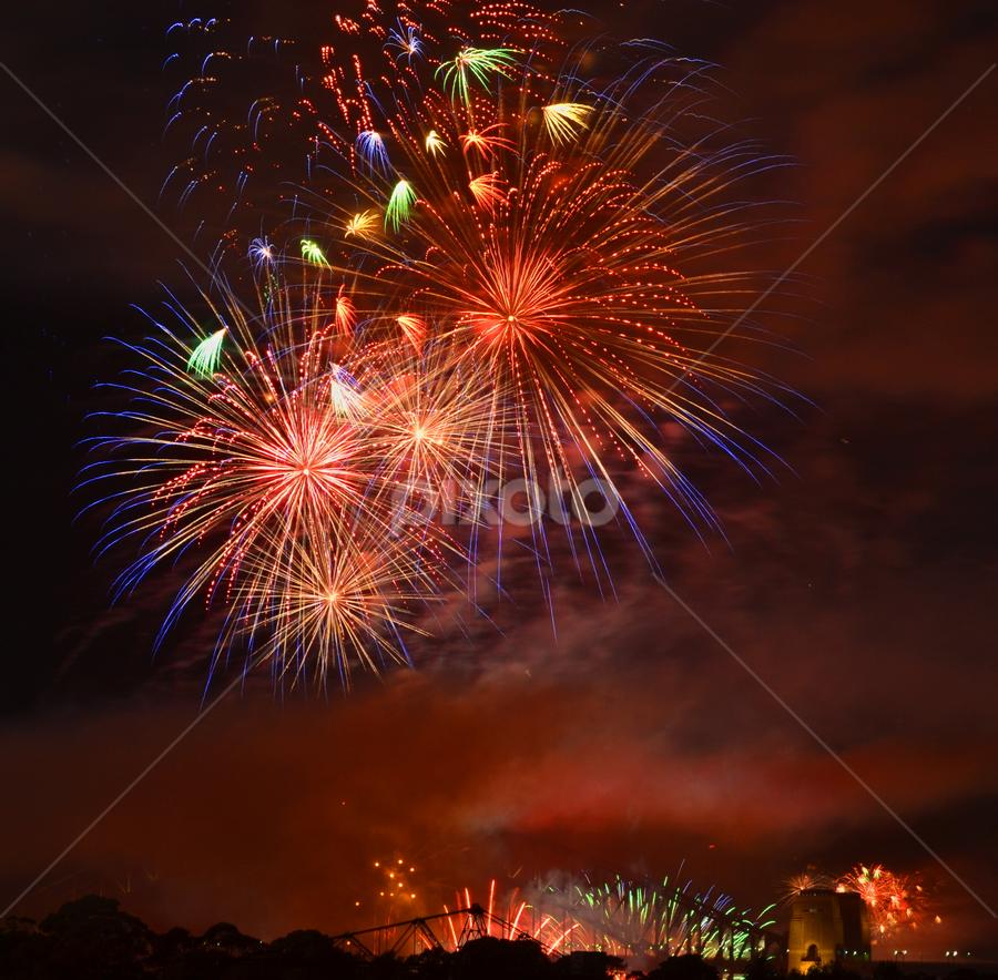 All the Colours by Kamila Romanowska - Abstract Fire & Fireworks ( new year, australia, fireworks, nye, sydney,  )