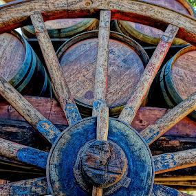 Wine Barrels Riding by Barbara Brock - Artistic Objects Other Objects ( wooden wheel, wine barrels, wooden wagon,  )