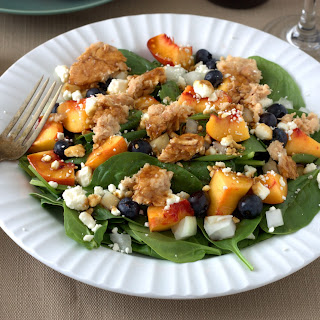 Spinach and Salmon Salad with Blueberry Vinaigrette