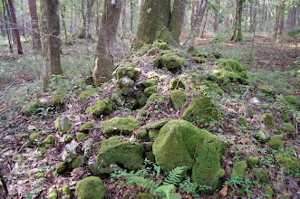 Photo: Piles of raw lithic material, ready for flaking.  In a karst limestone area with lots of chert material.