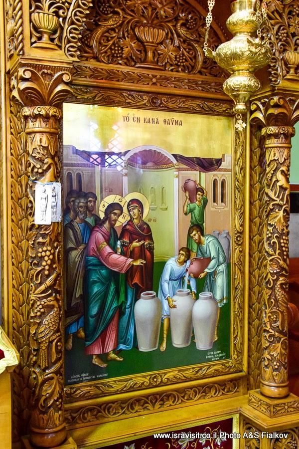 Икона в православной церкви в Кане Галилейской. Экскурсии в Израиле.