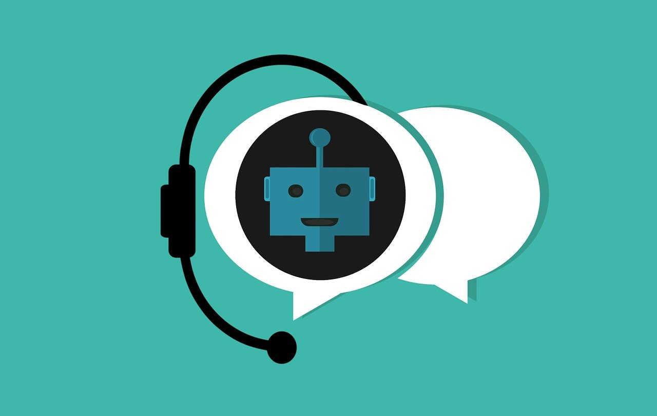 Cartoon of robot with headset