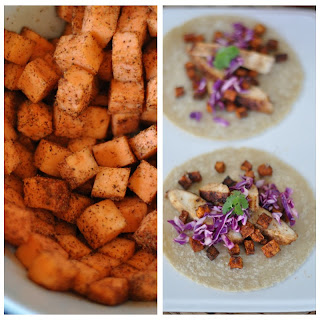 Maple Glazed Chicken and Sweet Potato Tacos.